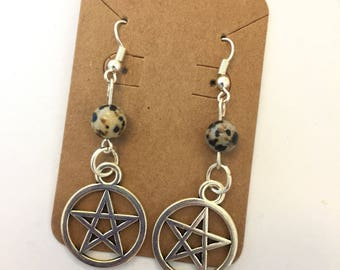 Dalmatian Pentagram Earrings