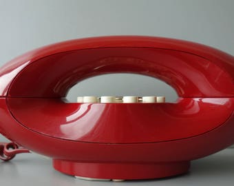 Vintage classic telephone burgundy red Dutch telecom PTT model Wenen Vienna 1980s retro funky