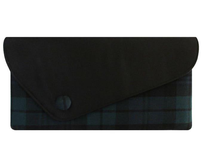 Black Watch Tartan & Satin Asymmetric Handmade Pure Wool Clutch Bag