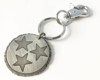 Tri-star keychain in heavy gauge pewter