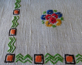 "Vintage Cream Linen Tablecloth, Floral Hand Embroidery, Red Blue Yellow Green Orange, 47"" x 67"", Striking!"
