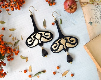 dangle art nouveau earrings LIBERTY BOUCLES, hand carved paper earrings, lightweight earrings, gothic earrings, long dangle paper earrings
