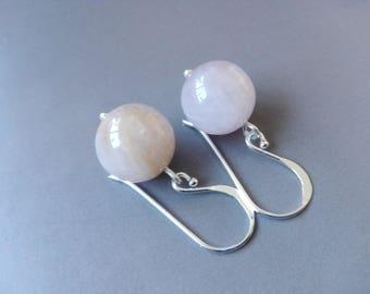 Pink Kunzite earrings and sterling silver minimalist