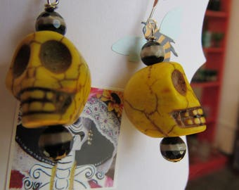 Day of the Dead Black and Yellow Stone Skull Earrings