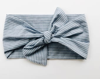 Denim Stripe Lightweight Headwrap/Headband - One Size Fits