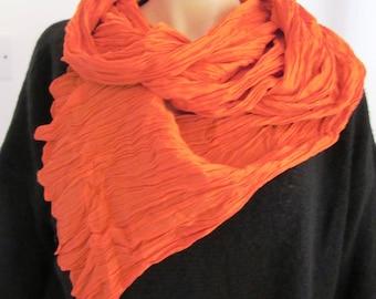 Large scarf / orange cotton voile