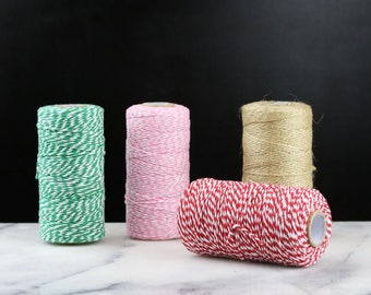 100m Cotton Bakers Twine, 1.5mm Thin Striped String, Two Tone Twine Reel, Twine Spool, Coloured String, Retro Gift Wrap, Thin Bakers Twine