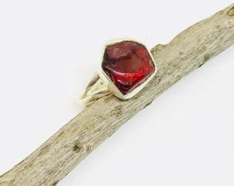 Garnet ring set in solid Sterling silver 92.5. Size -7Genuine natural freeform red garnet stone.