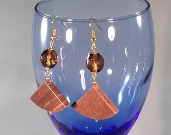 Earrings (marble stone+glass)