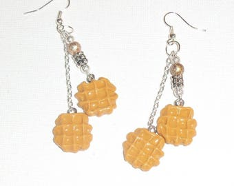 Waffle earrings polymer clay and frosted beads