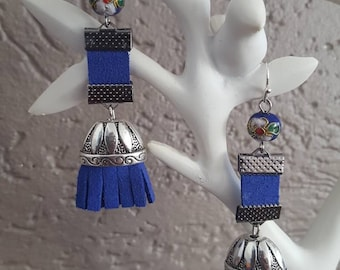 Blue Suede tassel earrings