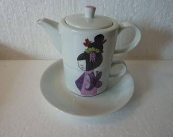 Théière+tasse - porcelaine avec coupelle