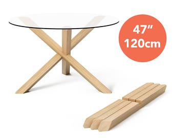 "1x3 Round Dining Table with 47"" (120cm) top - Puzzle- Wooden Dining Table - Wooden Kitchen Table - Glass Dining Table - Round Kitchen Table"