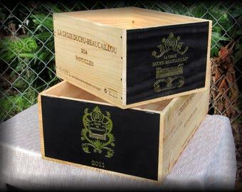 French Wine Crates, Chateau Ducru Beaucaillou, Second Growth, Saint Julien Bordeaux, Wine Cellar, Wedding Decor, Wood Storage Box, Crafts.