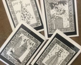 LYNN: Set of 8 Christmas cards, printed from original pen and ink drawings by Lynn.  Santa, angel, tree and fairy.