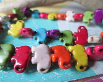1 strand elephants * 43 x * color mix * stone * beads * stone beads * 15 x 10 x 5 mm * jewelry making