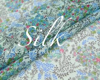 Turquoise chiffon silk by the yard tana lawn fabric