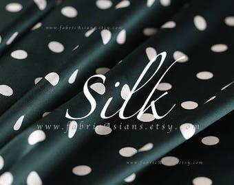 Dark Green Polka Dot Silk Fabric - achat tissu de soie pois