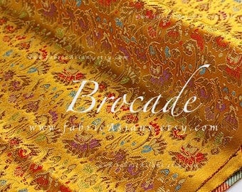 Golden brocade Yellow floral fabric by the yard