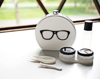 White Contact Lens Case and Travel Kit: Black Eye Glasses Design