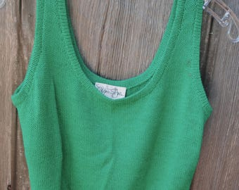 Vintage 1970s Green Knit Sweater Tank Vest