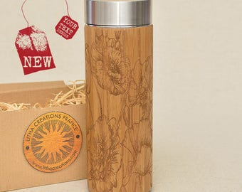 Customized Thermos Engraved Bamboo Wood WILD POPPIES Stainless Steel with Screw Lid