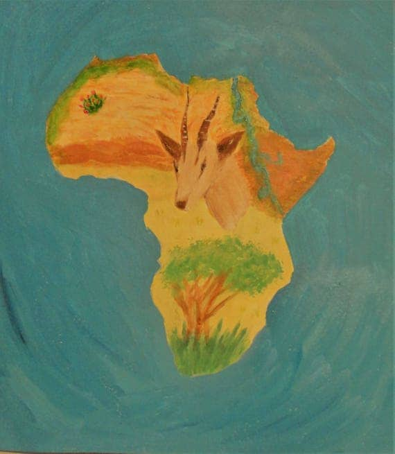 Topography of Africa Acrylic Fine Art Painting by Rosie Foshee Professional Artist Grade Paints on 140 pound acid-free paper substrate