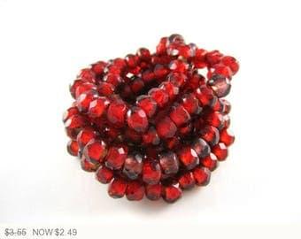 ON SALE Mini Red Gold Lined Roller Czech Glass Beads Marsala Gold Czech Roller Beads Roller Gold Czech Beads 9x6mm (10pcs) 324V3