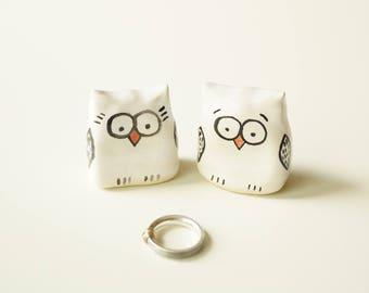 Ceramic Wedding Cake Topper, Owl Cake Topper, Ceramic Cake Topper by Her Moments