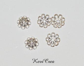 50 x caps caps silver 9mm filigree bead caps