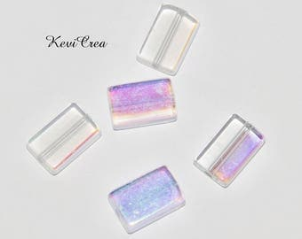 5 x colorless flat rectangle acrylic beads AB