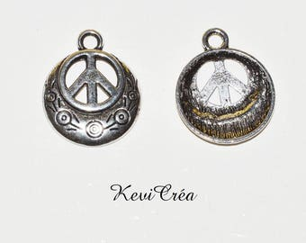 5 x charms charms peace and love silver metal