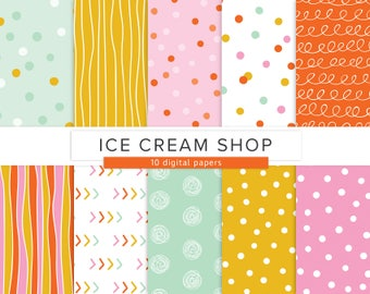 Confetti Ice Cream / Digital Paper / Polka Dots Summer Colorful Red Yellow Pink Stripes Scribbles / INSTANT DOWNLOAD