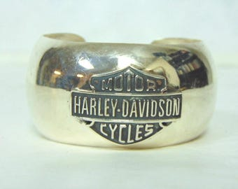 Collectible Estate Sterling Silver Harley Davidson Motorcycle Cuff Bracelet 45.7g #E3107