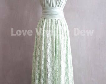 Bridesmaid Dress Infinity Dresses Mint Lace Floor Length Maxi Wrap Convertible Dress Wedding Dress