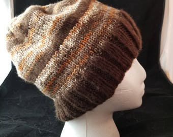 Brown Striped Knit Hat