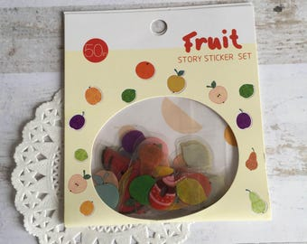 Fruit Sticker Set - 50 Stickers - Story Sticker Set - Watermelon Strawberry Banana Pear Orange Lemon - Scrapbook