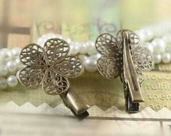 X 2 25 * 35mm (T215) bronze flower Bobby pins