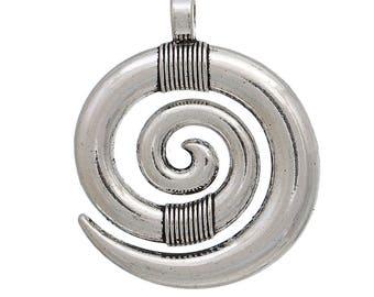 Bohemian style pendant 35mm x 28mm antique silver spiral shape