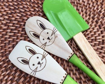 Mixing Spoons for kids, Bunny, kids cooking spoons, Woodburned Spoons for kids, 3 pc set, free spatula, FREE PERSONALIZATION