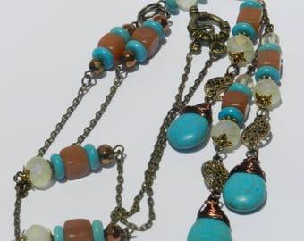 Three Drop Howlite Necklace A07592