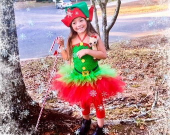 Christmas Elf Tutu Dress / Santa's Helper Tutu Dress