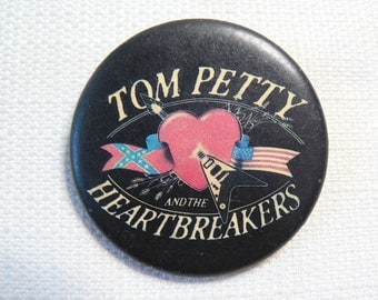 Vintage Early 80s - Tom Petty and the Heartbreakers - Heart and Guitar Logo - Pin / Button / Badge