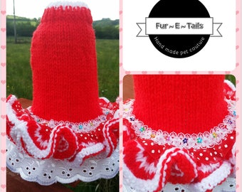 Hand Knitted Red & White Ruffle Dress