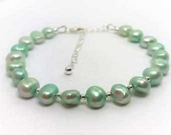 Mint Green Pearl Sterling Silver Bracelet Green Pearl Bracelet Adjustable Freshwater Pearl Bracelet Genuine Pearl Jewellery Beaded Bracelet