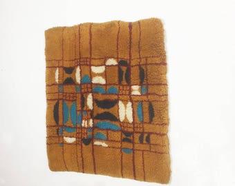 vintage 70s modernist wool wall rug object | mid century modern eames era 70s op art shag retro mod rug | wool pop design