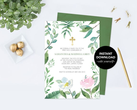 Baptism invitation greenery baptism invite greenery first il570xn solutioingenieria Images