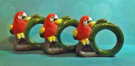 Set of Three vintage ceramic Scarlet Macaw Napkin Rings