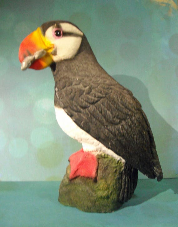 Healthy Planet Collectibles Pacific Ocean Horned Puffin with fish in beak figurine