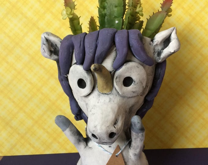 Violet the Unicorn // Majestic // Ultra Violet // Succulent Pot // Animal Planter // pothead // Gift // Small // Handmade // One of a kind